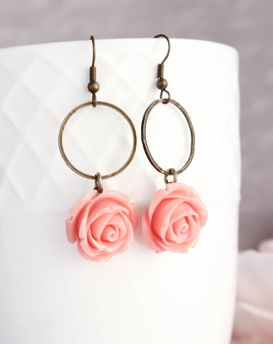 Deep Pink Rose Earrings