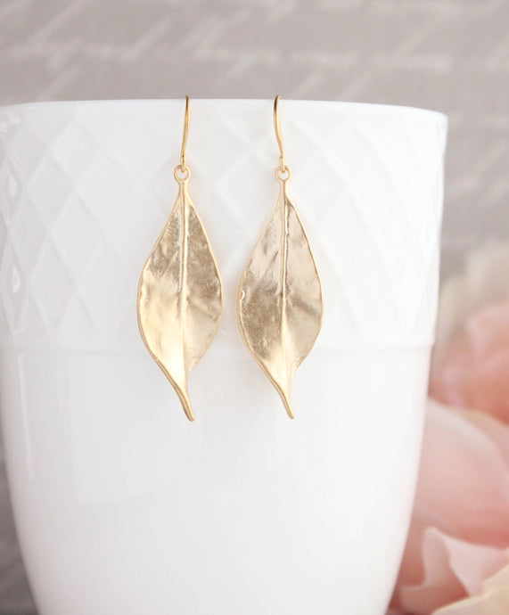Curled Leaf Earrings - Gold