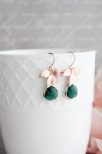 Load image into Gallery viewer, Rose Gold Orchid Earrings - Emerald
