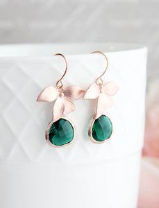 Rose Gold Orchid Earrings - Emerald