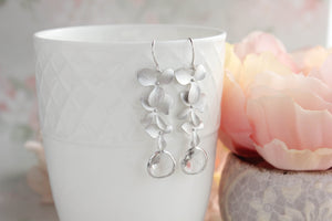 Silver Cascading Orchid Earrings (10 Colors)