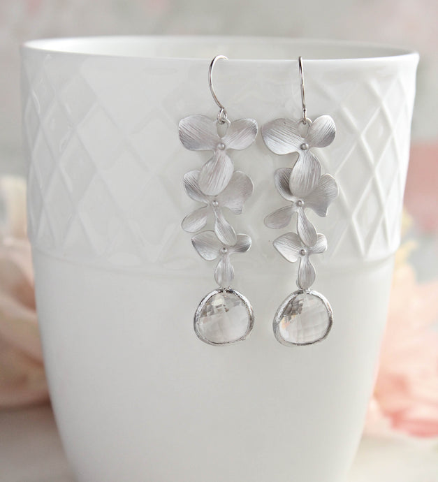Silver Orchid Earrings (10 Glass colors)