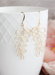 Silver Loopy Leaf Branch Earrings