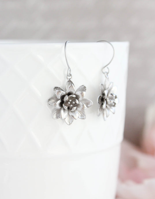 Lotus Flower Earrings - Matte Silver