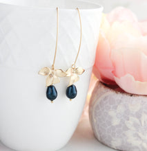 Load image into Gallery viewer, Orchid Earrings - Tahitian Navy Blue