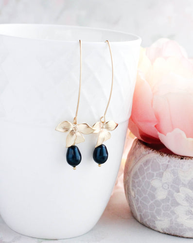 Orchid Earrings - Tahitian Navy Blue
