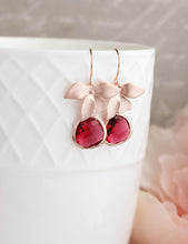 Load image into Gallery viewer, Rose Gold Orchid Earrings - Ruby Red