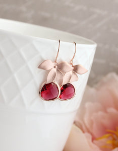 Rose Gold Orchid Earrings - Ruby Red