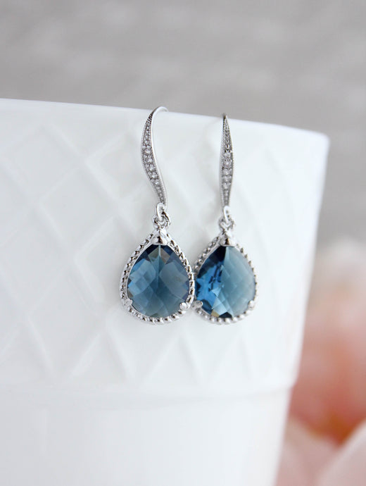 Sparkle Drop Earrings - Navy Glass