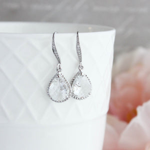Sparkle Drop Earrings - Clear Glass