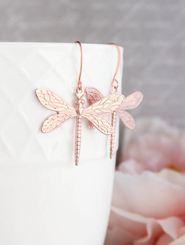 Dragonfly Earrings - Rose Gold
