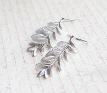 Load image into Gallery viewer, Leafy Branch Earrings - Matte Silver Rhodium