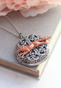 Big Fox Locket - Copper and Silver