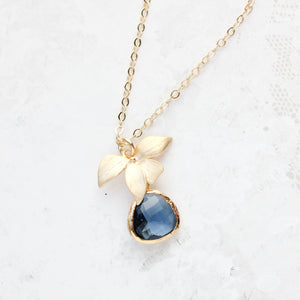 Orchid and Glass Necklace (12 Colors)