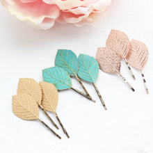 Load image into Gallery viewer, Leaf Bobby Pins - Rose Gold