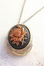 Load image into Gallery viewer, Big Cameo Locket - 'Tea stained' Rose