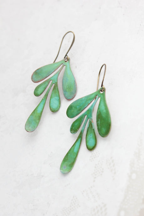 Boho Leaf Earrings - Verdigris (3 options)