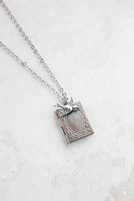 Silver Bird and Book Locket