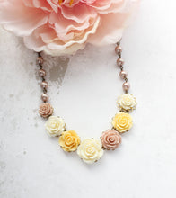Load image into Gallery viewer, Cream and Yellow Rose Necklace