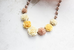 Cream and Yellow Rose Necklace