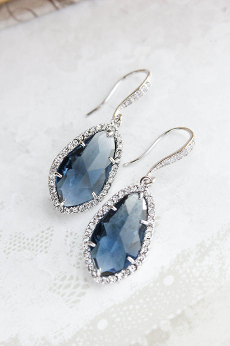 Sparkly Dangle Earrings - Navy /Silver NEW