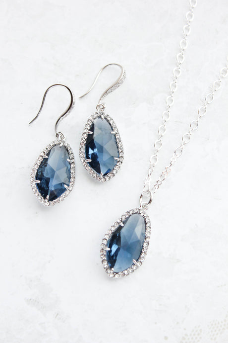 Navy Blue Glass Jewel Set