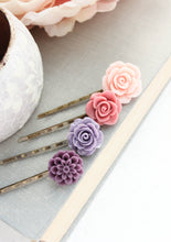 Load image into Gallery viewer, Purple Flower Bobby Pins - BP1023