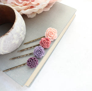 Purple Flower Bobby Pins - BP1023