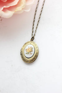 Yellow Rose Cameo Locket NEW