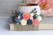 Load image into Gallery viewer, Navy and Coral Floral Comb - C1007