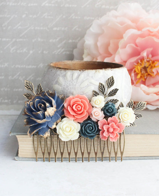 Navy and Coral Floral Comb - C1007