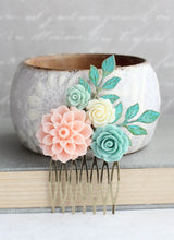 Load image into Gallery viewer, Mint and Pink Dahlia Comb - C1013