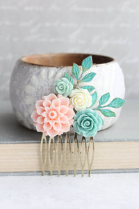 Mint and Pink Dahlia Comb - C1013