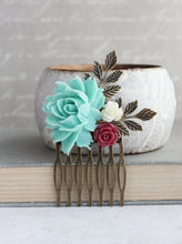 Load image into Gallery viewer, Aqua Floral Comb - C1011