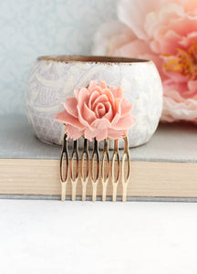 Dusty Pink Rose Comb - C2008