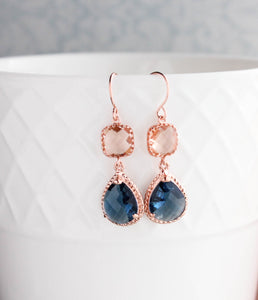 Sparkle Drop Earrings Rose | Peach | Blue