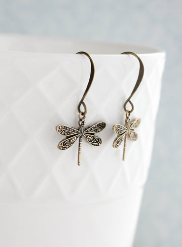 Little Dragonfly Earrings - Antiqued Gold
