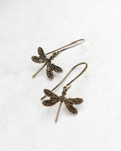 Load image into Gallery viewer, Little Dragonfly Earrings - Antiqued Gold