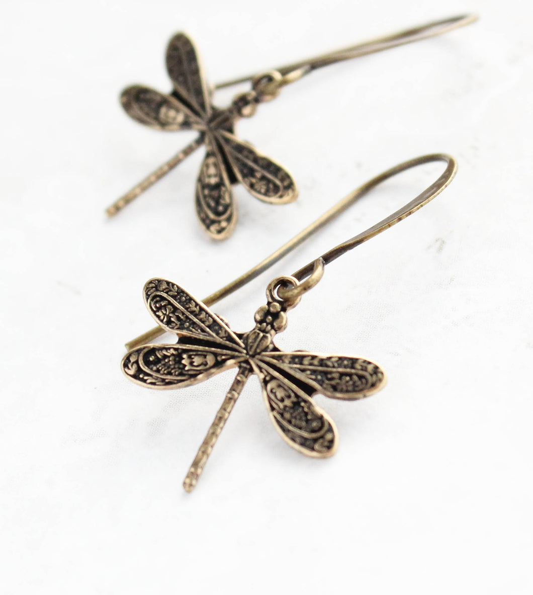 Little Dragonfly Earrings - Antiqued Copper