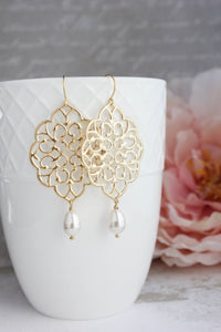 Gold Filigree Earrings (14 Pearl Colors)