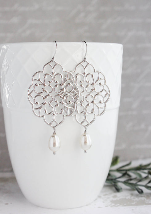 Silver Filigree Earrings (14 Pearl Colors)
