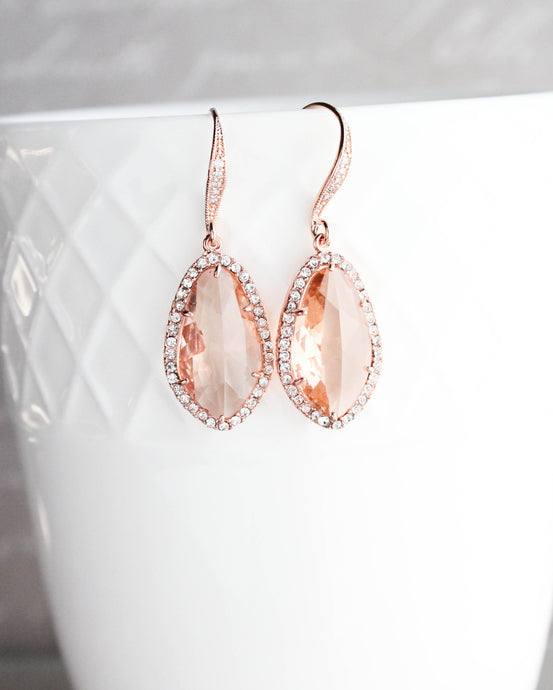 Sparkly Dangle Earrings - Peach /Rose Gold