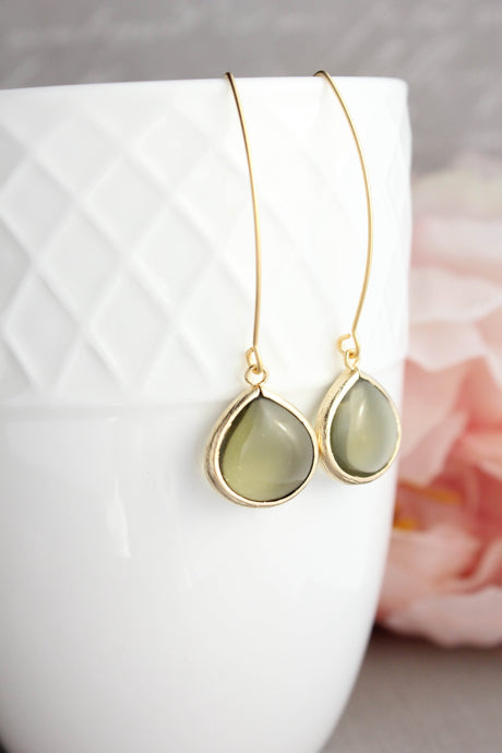 Candy Jewel Earrings  - Khaki Green