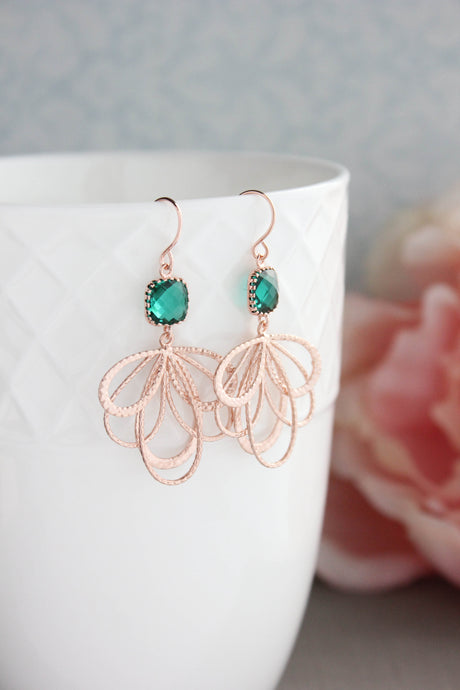 Rose Gold Loop Earrings - Emerald