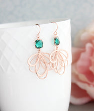 Load image into Gallery viewer, Rose Gold Loop Earrings - Emerald