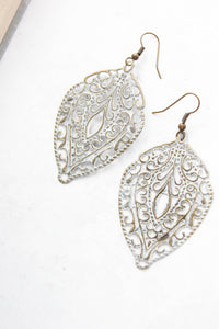 White Patina Filigree Earrings NEW