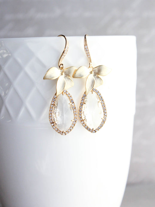 Orchid Sparkle Earrings -Clear