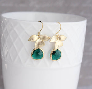 Gold Orchid Earrings - Emerald