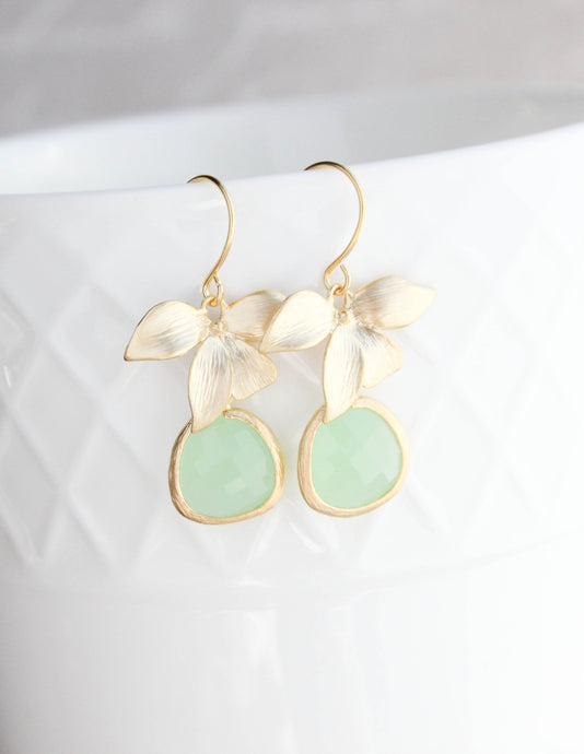Gold Orchid Earrings - Light Green