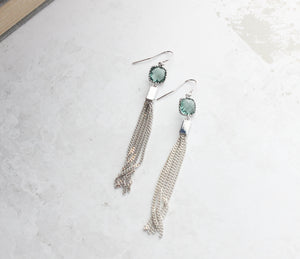 Blue and Cream Chain Tassle Earrings